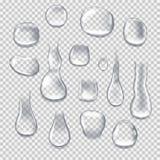 Ρεαλιστικές πτώσεις νερού στο διαφανές υπόβαθρο Σταγονίδια νερού, πτώσεις βροχής απεικόνιση αποθεμάτων