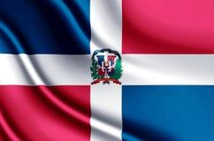 Ρεαλιστική απεικόνιση σημαιών Δομινικανής Δημοκρατίας ελεύθερη απεικόνιση δικαιώματος