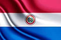 Ρεαλιστική απεικόνιση σημαιών της Παραγουάης διανυσματική απεικόνιση
