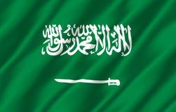 Ρεαλιστική απεικόνιση σημαιών της Σαουδικής Αραβίας διανυσματική απεικόνιση
