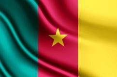 Ρεαλιστική απεικόνιση σημαιών του Καμερούν διανυσματική απεικόνιση