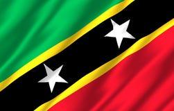 Ρεαλιστική απεικόνιση σημαιών St. Kitts and Nevis διανυσματική απεικόνιση