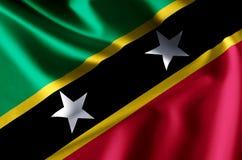 Ρεαλιστική απεικόνιση σημαιών St. Kitts and Nevis απεικόνιση αποθεμάτων