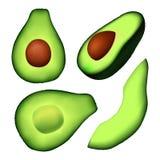 Ρεαλιστική απεικόνιση του τεμαχισμένου πράσινου αβοκάντο με ένα κοίλωμα Διανυσματική απεικόνιση