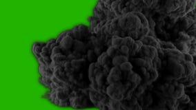 Ρεαλιστική γιγαντιαία έκρηξη και μαύρος καπνός μπροστά από μια πράσινη οθόνη Στοιχείο VFX ελεύθερη απεικόνιση δικαιώματος