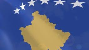 Ρεαλιστική ζωτικότητα σημαιών Κοσόβου διανυσματική απεικόνιση