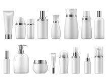 Ρεαλιστική καλλυντική συσκευασία Ομορφιάς καλλυντικό κενό πρότυπο καλλυντικών προϊόντων κενό άσπρο τρισδιάστατο pack spa o απεικόνιση αποθεμάτων