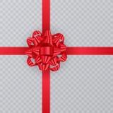 Ρεαλιστική κορδέλλα δώρων, κόκκινο τόξο στο διαφανές υπόβαθρο Στοιχείο δώρων για το σχέδιο καρτών background colors holiday red y Στοκ φωτογραφία με δικαίωμα ελεύθερης χρήσης