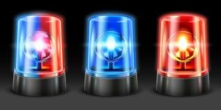 Ρεαλιστική λάμψη ασθενοφόρων Ελαφρύς αναλαμπτήρας αστυνομίας, φακοί ασφάλειας και ηλεκτρικοί λαμπτήρες σειρήνων προειδοποίησης Ελ διανυσματική απεικόνιση