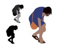 Ρεαλιστική οριζόντια έγχρωμη εικονογράφηση μιας γυναίκας που παίρνει someth απεικόνιση αποθεμάτων