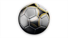 Ρεαλιστική σφαίρα ποδοσφαίρου δέρματος που περιστρέφεται στο άσπρο υπόβαθρο Ζωτικότητα μιας σφαίρας ποδοσφαίρου σε ένα άσπρο υπόβ απεικόνιση αποθεμάτων