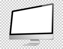 Ρεαλιστική τρισδιάστατη σωστή άποψη υπολογιστών, με μια άσπρη οθόνη, που απομονώνεται σε ένα υπόβαθρο transparancy Στοκ εικόνες με δικαίωμα ελεύθερης χρήσης
