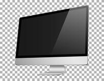 Ρεαλιστική τρισδιάστατη σωστή άποψη υπολογιστών, με μια μαύρη οθόνη, που απομονώνεται σε ένα υπόβαθρο transparancy Στοκ Εικόνα