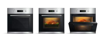 Ρεαλιστικοί φούρνοι κουζινών καθορισμένοι απεικόνιση αποθεμάτων