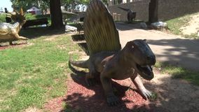 Ρεαλιστικός δεινόσαυρος Dimetrodon στο πάρκο του Dino, πόδια με τα νύχια απόθεμα βίντεο
