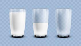 Ρεαλιστικός κενός, μισός και πλήρης των διαφανών γυαλιών γάλακτος διανυσματική απεικόνιση