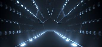 Ρεαλιστικός σκοτεινός διάδρομος με τα φω'τα στο πάτωμα διανυσματική απεικόνιση