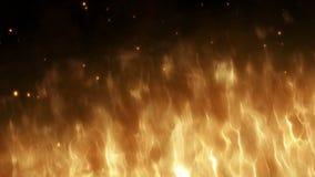 Ρεαλιστικός τοίχος της πυρκαγιάς με την καυτή άνοδο σπινθήρων στο νυχτερινό ουρανό Καίγοντας φλόγα σε ένα αφηρημένο υπόβαθρο με έ απεικόνιση αποθεμάτων