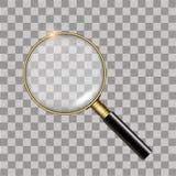 Ρεαλιστικός χρυσός πιό magnifier στο διαφανές υπόβαθρο διάνυσμα απεικόνιση αποθεμάτων