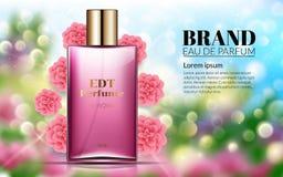 Ρεαλιστικό άρωμα ύφους αγγελιών αρώματος σε ένα μπουκάλι γυαλιού στα Floral ρόδινα λουλούδια Bokeh υποβάθρου Blured Μεγάλη διαφήμ διανυσματική απεικόνιση