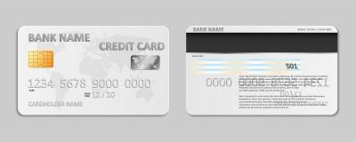 Ρεαλιστικό άσπρο πρότυπο πιστωτικών καρτών τραπεζών που απομονώνεται Πλαστικό πρότυπο πιστωτικών καρτών τράπεζας με το χάρτη τσιπ απεικόνιση αποθεμάτων
