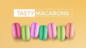 Ρεαλιστικό διάνυσμα Macarons Τοπ όψη Γλυκά γαλλικά Macaroons στην κίτρινη απεικόνιση υποβάθρου διανυσματική απεικόνιση
