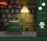 Ρεαλιστικό εσωτερικό πρότυπο δωματίων εγχώριας βιβλιοθήκης ελεύθερη απεικόνιση δικαιώματος