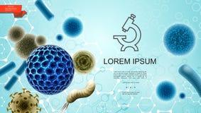 Ρεαλιστικό ζωηρόχρωμο υπόβαθρο μικροβιολογίας διανυσματική απεικόνιση