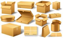 Ρεαλιστικό κενό κουτί από χαρτόνι που ανοίγουν Καφετιά παράδοση Συσκευασία χαρτοκιβωτίων με το εύθραυστο σημάδι στο διαφανές άσπρ διανυσματική απεικόνιση