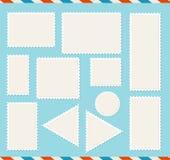 Ρεαλιστικό λεπτομερές τρισδιάστατο κενό κενό σύνολο ταχυδρομικών σφραγίδων προτύπων άσπρο διάνυσμα απεικόνιση αποθεμάτων