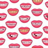 Ρεαλιστικό λεπτομερές τρισδιάστατο οδοντικό υπόβαθρο σχεδίων προβλημάτων άνευ ραφής διάνυσμα Απεικόνιση αποθεμάτων