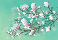 Ρεαλιστικό λουλούδι Magnolia που απομονώνεται στο ελαφρύ υπόβαθρο Ο κλάδος Magnolia είναι ένα σύμβολο της άνοιξης, καλοκαίρι, θηλ απεικόνιση αποθεμάτων