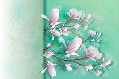 Ρεαλιστικό λουλούδι Magnolia που απομονώνεται στο ελαφρύ υπόβαθρο Ο κλάδος Magnolia είναι ένα σύμβολο του καλοκαιριού, θηλυκότητα διανυσματική απεικόνιση
