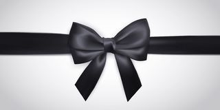 Ρεαλιστικό μαύρο τόξο με την κορδέλλα που απομονώνεται στο λευκό Στοιχείο για τα δώρα διακοσμήσεων, χαιρετισμοί, διακοπές επίσης  διανυσματική απεικόνιση
