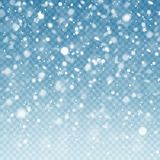 Ρεαλιστικό μειωμένο χιόνι χειμώνας οδικού χιονιού ανασκόπησης Θύελλα παγετού, επίδραση χιονοπτώσεων στο μπλε διαφανές υπόβαθρο Χρ ελεύθερη απεικόνιση δικαιώματος