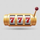 Ρεαλιστικό μηχάνημα τυχερών παιχνιδιών με κέρματα χαρτοπαικτικών λεσχών ή τυχερό απομονωμένο σύμβολο διανυσματικό αντικείμενο διανυσματική απεικόνιση