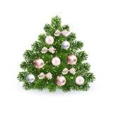 Ρεαλιστικό πράσινο δέντρο Χριστουγέννων με τα ροδαλά χρυσά παιχνίδια στοκ εικόνες