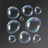 ρεαλιστικό σαπούνι φυσαλίδων Απομονωμένο φυσαλίδες διάνυσμα αντανάκλασης ουράνιων τόξων στη διαφανή απεικόνιση διανυσματική απεικόνιση
