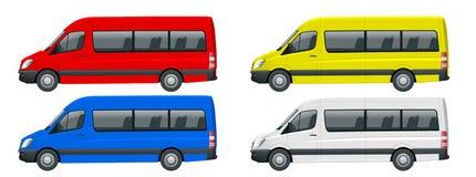 Ρεαλιστικό σύνολο Van template Isolated μικρού λεωφορείου επιβατών για την εταιρικές ταυτότητα και τη διαφήμιση Όψη από την πλευρ απεικόνιση αποθεμάτων
