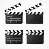 Ρεαλιστικό τρισδιάστατο λεπτομερές μαύρο Clapper σύνολο διάνυσμα απεικόνιση αποθεμάτων