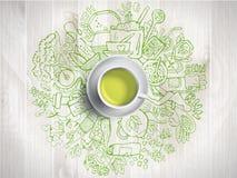 Ρεαλιστικό φλυτζάνι του πράσινου τσαγιού με τον κύκλο doodles ελεύθερη απεικόνιση δικαιώματος
