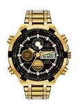 Ρεαλιστικό chronograph ρολογιών χρυσό μαύρο πρόσωπο στο άσπρο διάνυσμα πολυτέλειας υποβάθρου Στοκ Εικόνα