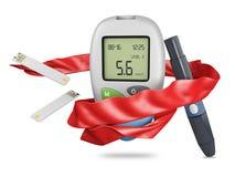 ρεαλιστικό glucometer μετρητών γλυκόζης αίματος, απομονωμένη δοκιμή τρισδιάστατη απεικόνιση γλυκόζης αίματος διαβήτη στοκ φωτογραφίες