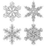 Ρεαλιστικό Snowflake γραπτό σύνολο εικονιδίων Στοκ Εικόνα