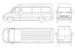 Ρεαλιστικό Van template στην περίληψη Απομονωμένο μίνι λεωφορείο επιβατών για την εταιρικές ταυτότητα και τη διαφήμιση απεικόνιση αποθεμάτων