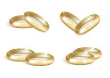 Ρεαλιστικά γαμήλια χρυσά δαχτυλίδια καθορισμένα τρισδιάστατη συλλογή ζωνών που απομονώνεται στο άσπρο υπόβαθρο επίσης corel σύρετ Στοκ Φωτογραφίες