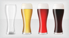 Ρεαλιστικά γυαλιά μπύρας καθορισμένα απεικόνιση αποθεμάτων