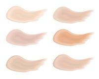 Ρεαλιστικά κτυπήματα κρέμας του BB καθορισμένα Ο πολύχρωμος τόνος δερμάτων παφλασμών παλετών, ίδρυμα αποτελεί Απομονωμένος στο λε απεικόνιση αποθεμάτων