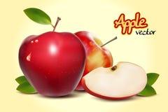 Ρεαλιστικά κόκκινα διανυσματικά μήλα απεικόνιση αποθεμάτων
