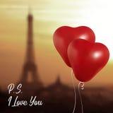 Ρεαλιστικά μπαλόνια καρδιών που πετούν ενάντια στον πύργο του Άιφελ κόμμα και εορτασμοί Διάστημα για το μήνυμα στο φως απεικόνιση αποθεμάτων